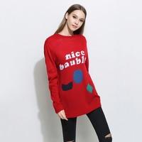 Vrouwen Brief Trui Print Plus Size Rode Winter Jumper Gebreide Top Warme Trui Shrug Pluizige Pull Femme Vrouwen Tuniek P6C0475
