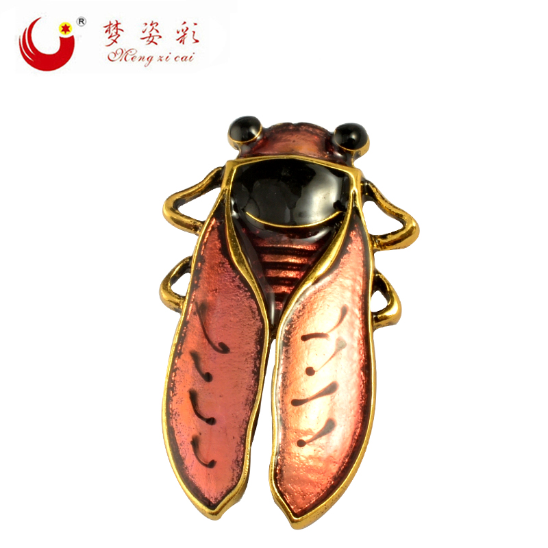 2019 High Quality Chic Animal Brooch Enamel Beetle Broach Antique Gold Alloy Insect Brooches For Women Wedding Accessories Brosh