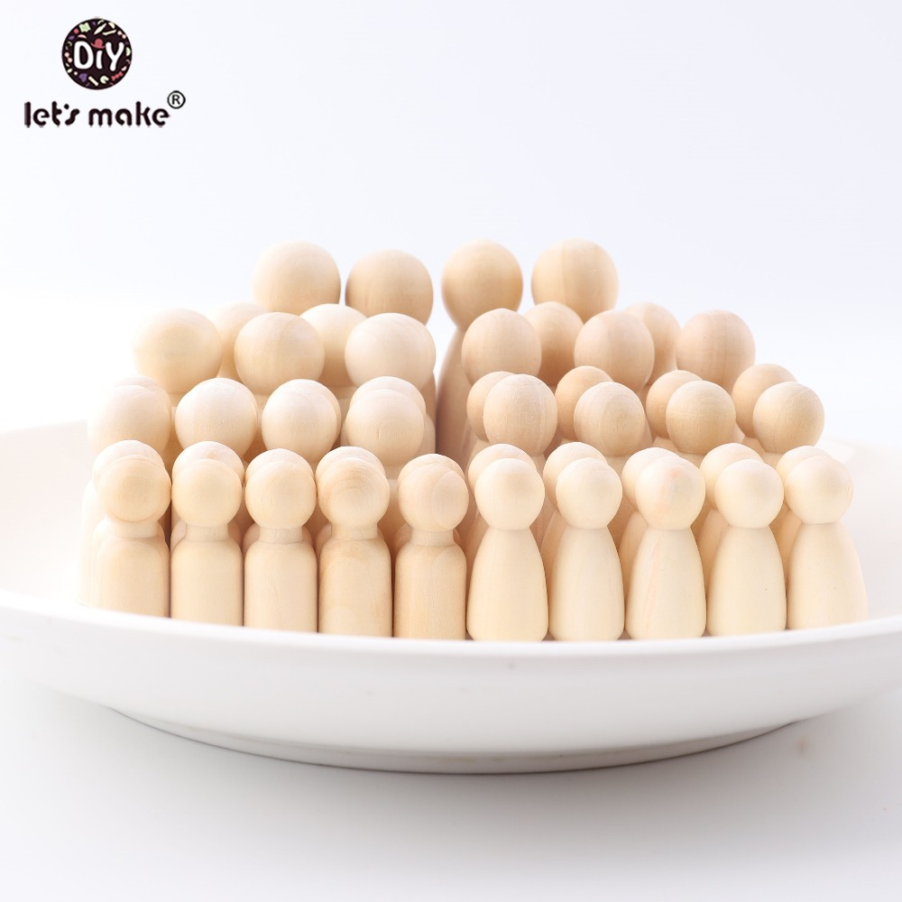 Let's Make 50pcs Wooden Peg Dolls DIY Crafts Unfinished Wooden People Male/Female Dolls Natural Smooth For Paint Teething Toys