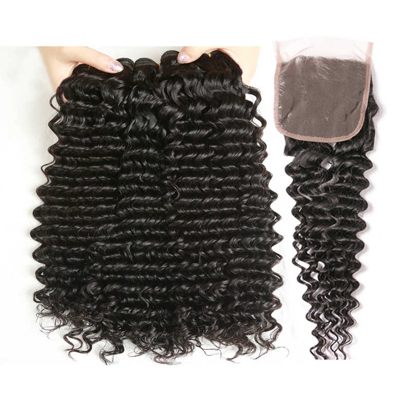 Yavida Brazilian Deep Curly Bundles With Closure 3 Bundles Human Hair With Closure Non-remy Hair Weave Bundles With Closure