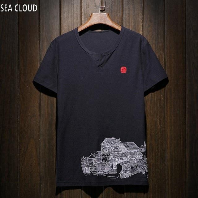 clothes funny t shirts tshirt t shirt men european version plus size fat male 2xl 4xl 5xl 8xl Linen v neck short sleeve t shirt