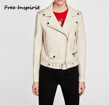 Free Inspirit 2018 New Fashion Spring And Autumn Lady Leather Clothing  Classic Commuter Solid Color Locomotive Jacket Косуха