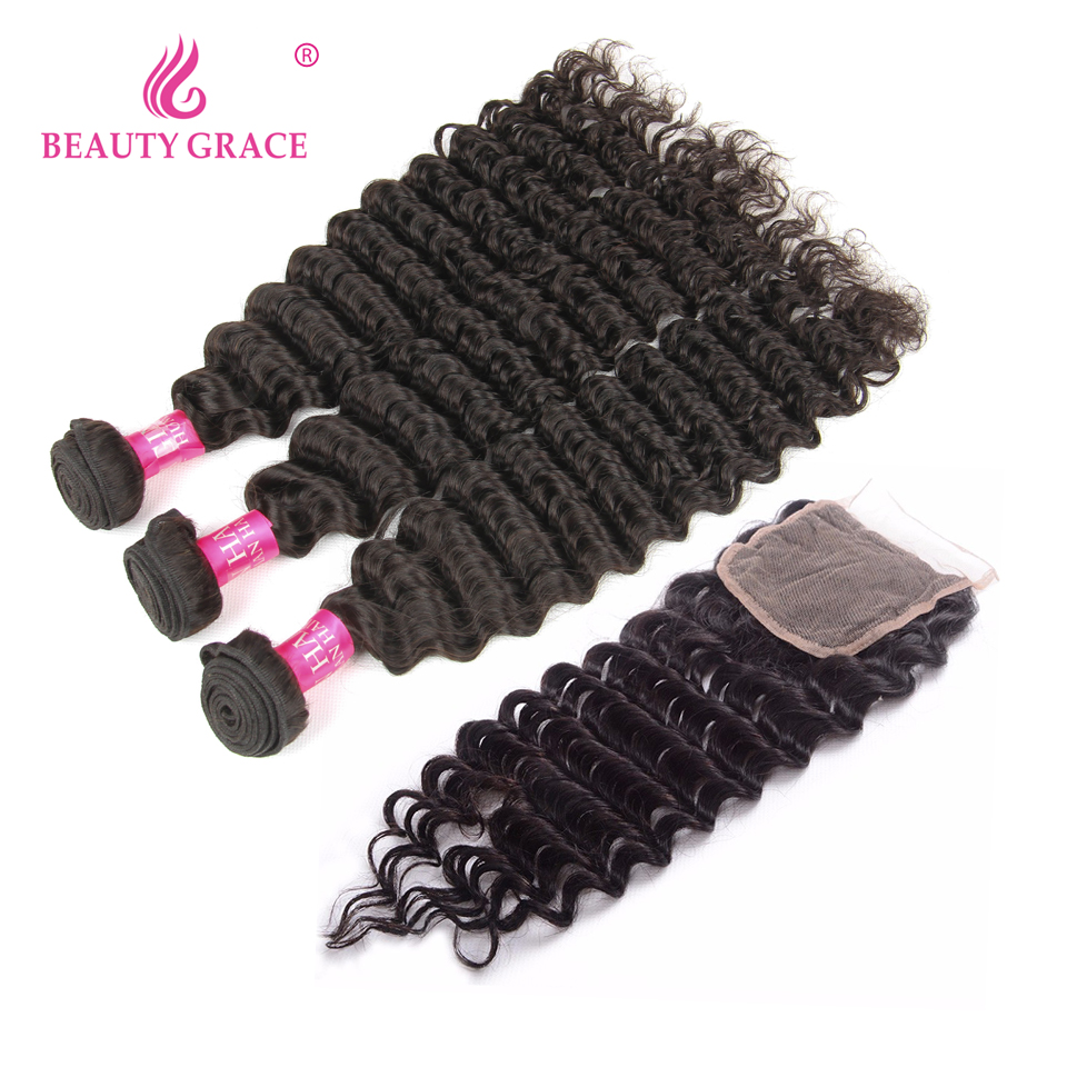 Beauty Grace Hair Products Peruvian Human Hair Weave 3 Pieces Deep Wave Bundles With Closure Non Remy Hair Extensions