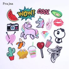 Prajna Iron On Embroidery Patches Cheap Cartoon Anime Unicorn Camera Letter Patches For Clothing DIY Applique Badge(China)