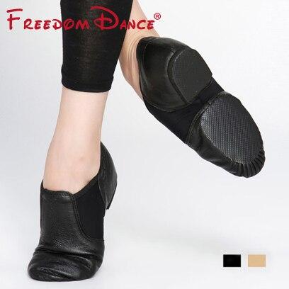 Оптовая цена Натуральная кожа Твин вставки стрейч Джаз танцевальная обувь без шнуровки Мужская Спортивная обувь женская обувь для трениро...