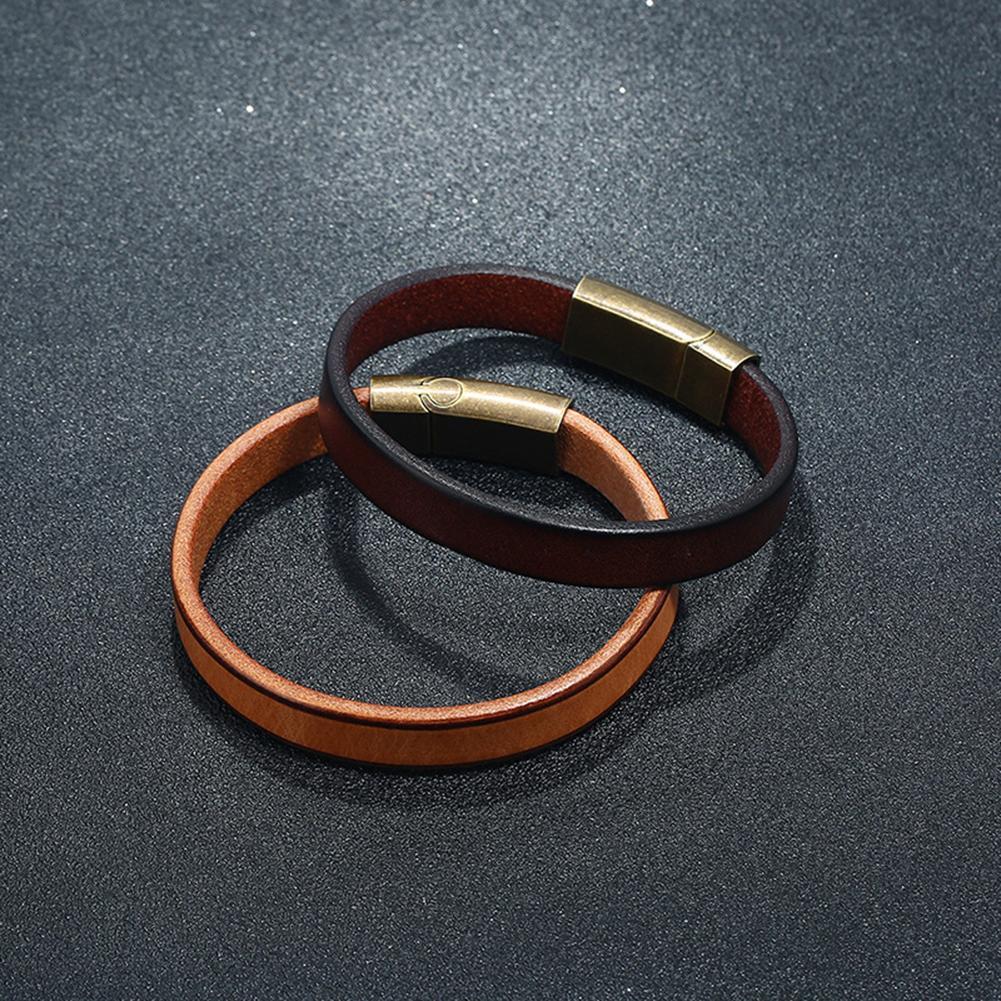 Mode Eenvoudige Mannen Glossy Kunstleer Sluiting Armband Bangle Armband Decor Boho
