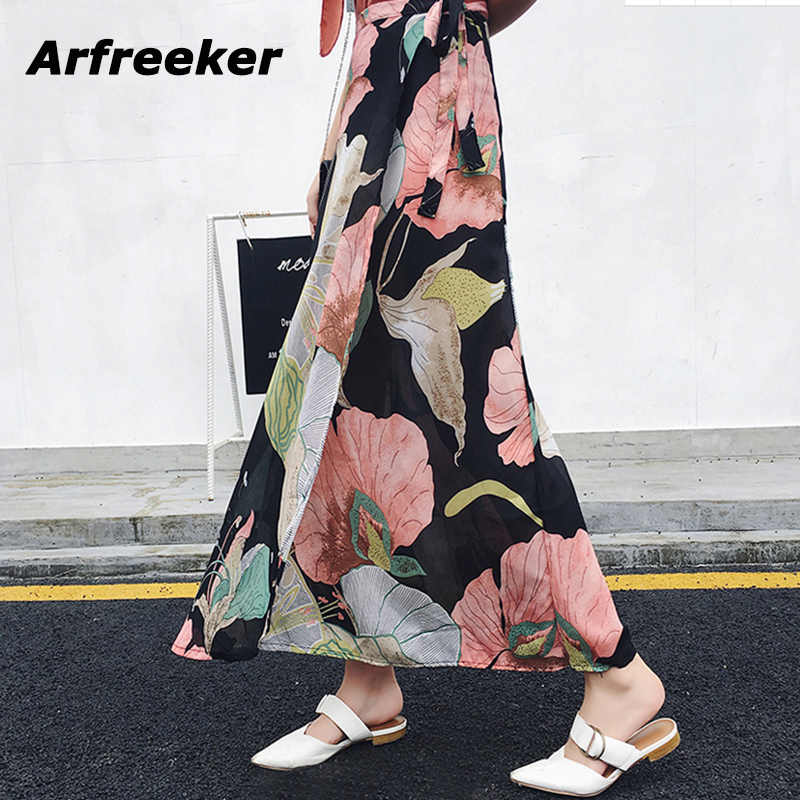d0c9f594e58a Arfreeker Lace-Up Summer Print Floral Skirts Women High Waist Wrap Skirt  2018 Irregular Casual