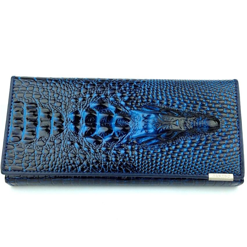 Black Friday Fashion Genuine Leather Women Clutch Wallet 3 Fold Crocodile Head Woman's Purse Carteras Cellphone Bag