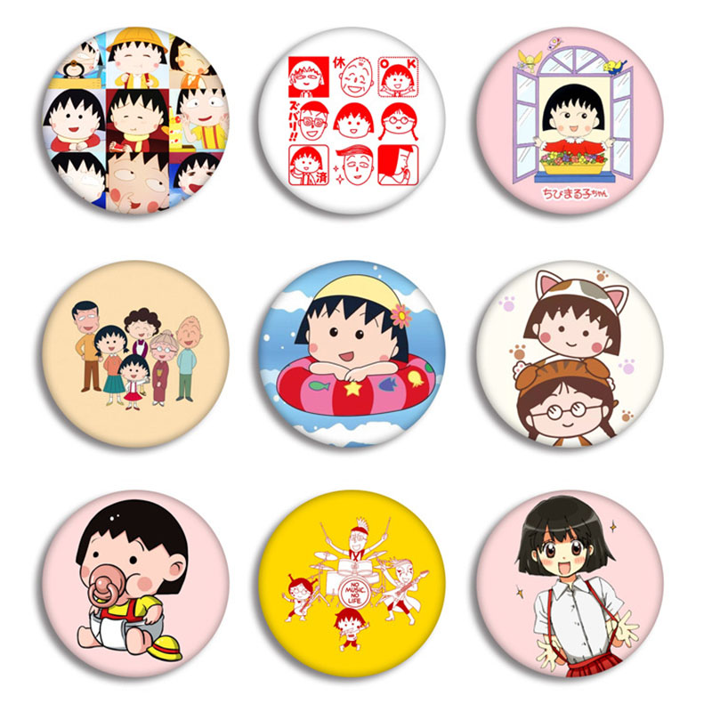 Anime Chibi Maruko-chan Brooches Badge Fashion Cartoon Round Metal Brooch Pin Jewelry Accessories Graduation Gift Collections