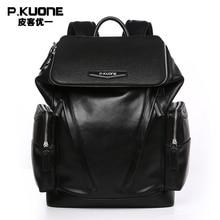P.KUONE Brand Luxury Black Genuine Leather Backpack Men Soft Waterproof Back Pack Shoulder School Bag Male Travel Rucksack