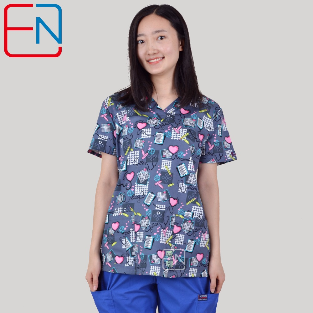 17 DESGINS IN Medical Scrub Tops For Women Surgical Scrubs,scrub Uniform In 100% Print Cotton HENNAR BRAND