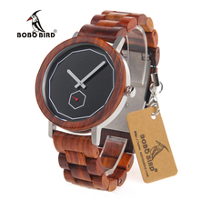 BOBO BIRD M29 Red Sandalwood Watches Top Luxury Brand Design with Wooden Strap Wooden Wristwatches for Men  in Paper Gift Box