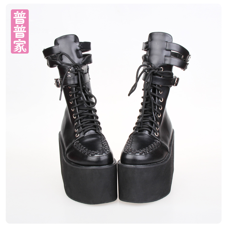 цена на Princess sweet punk shoes Japanese pointy boots anime COS punk thick bottom lace muffin cartridge punk boots women pu8373