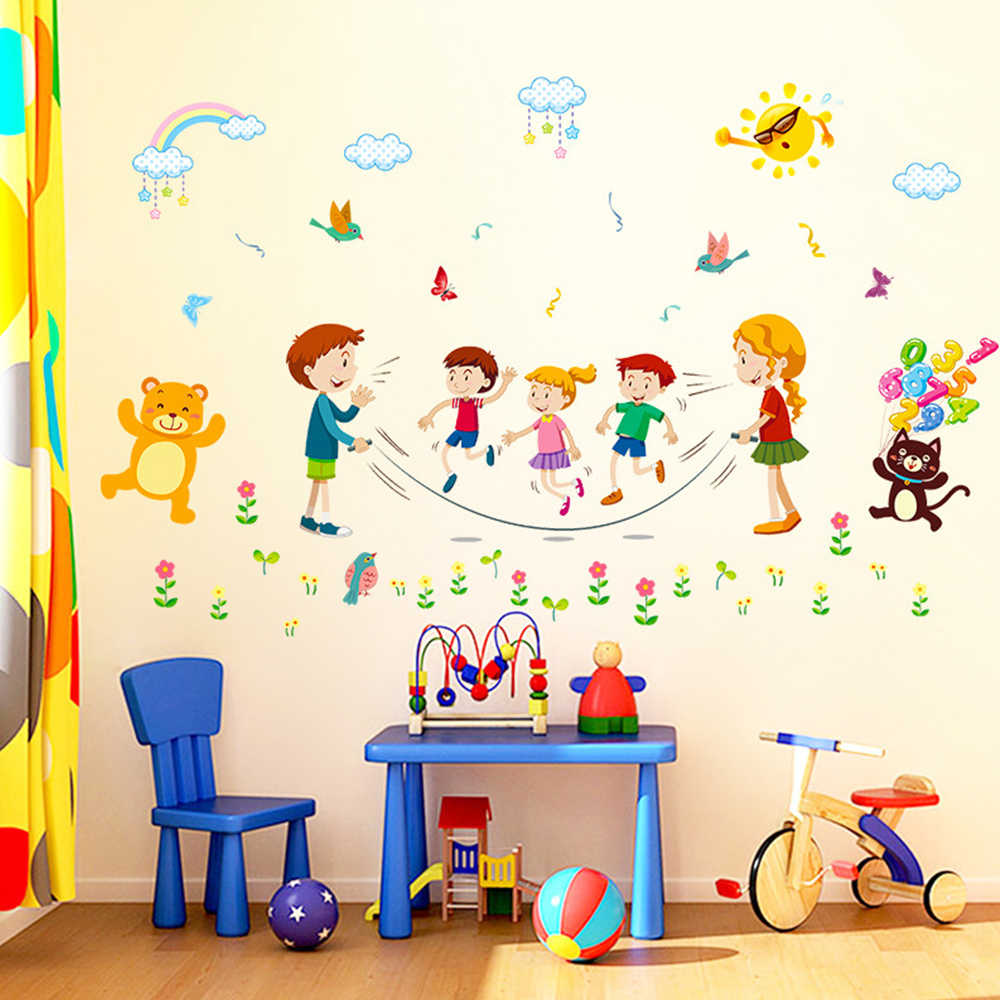 1 Pc Cartoon Joyful Animal Jumping Rope Sports Wall Sticker For Children Bedroom School Room Home Decoration Stickers & Posters