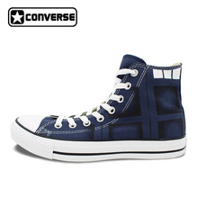 Hand Painted Blue Canvas Shoes Converse Chuck Taylor Design Custom Police Box Athletic Sneakers High Top