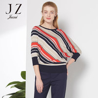 Осенние женские красочные полосатый битой рубашка Круглый воротник рубашка JUZU