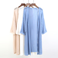 Thin Spring Summer Loose Long Cotton Women Female Plus Size Three Quarter Sun Protection Air Conditioning