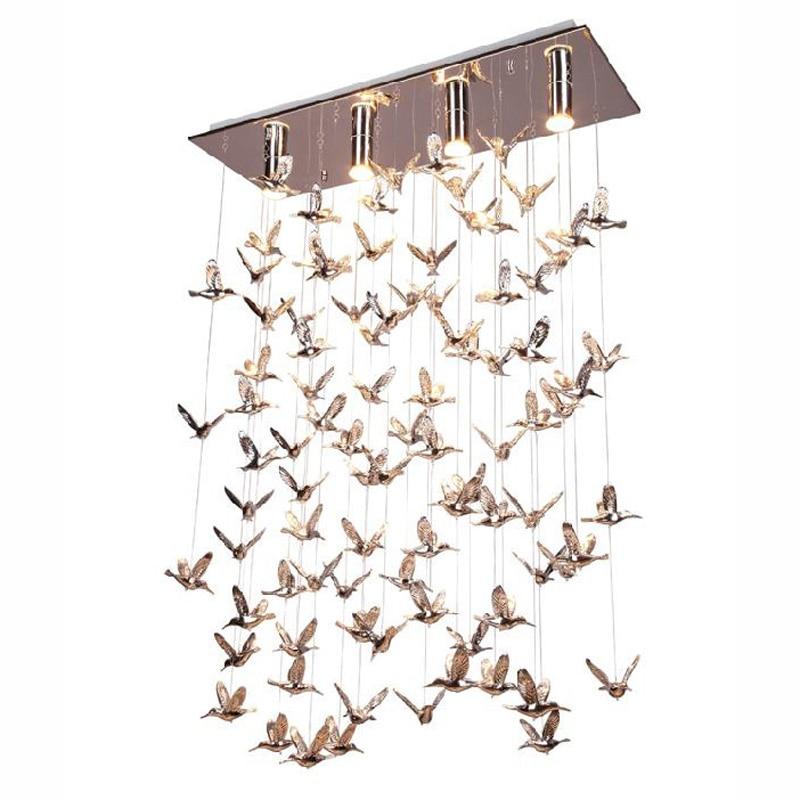 Современные металлические птицы столовая подвесной светильник ресторан барная стойка круглый нержавеющая сталь продолговатый Топ База по