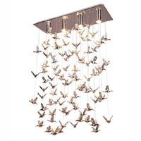 Modern Metal Birds Dining Room Pendant Light Restaurant Bar Counter Round Stainless Steel Oblong Top Base Pendant Lamp
