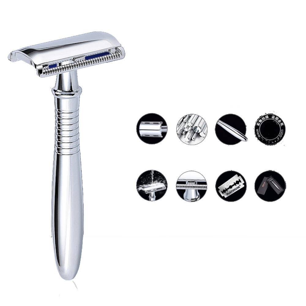 Shaving Razor Holder Men Replaceable Safety Classic Old Style Chrome Double Edge Shave Hair <font><b>Blades</b></font> Straight Razor Barber Gift