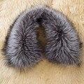 100% Natural alta calidad de dicha cantidad Silver Fox cuello de piel, genuino de piel de zorro Collar grande para hombre, Real de piel de zorro bufanda BE1503 CPA liberan el envío