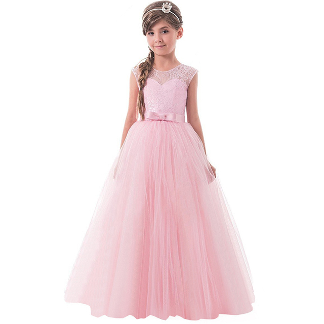 6f21ff139ba Girl Princess Party Dance Dress Long Tulle Children s Events Wear Lace  Dresses Flower Girl Wedding Gown Teenager Girl Clothes