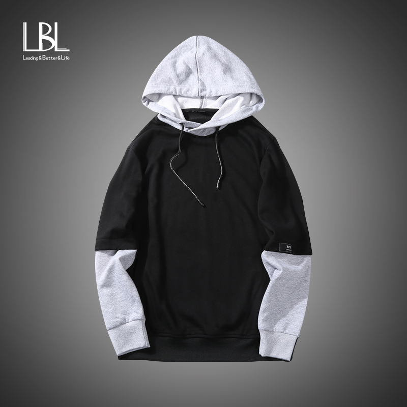 Streetstyle Hoodies Men Fleece Patchwork Mens Hip Hop Casual Pullover Sweatshirts Streetwear 2018 Spring Winter Hoodie Tracksuit