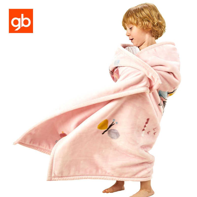 GB Flannel Baby Blanket Double Layer Thick Breathable Baby Bedding Blanket Cartoon Soft Swaddling Warp Newborn Receiving Blanket thick warm double layer flannel plus sherpa man made lamb fur blanket 145x195cm