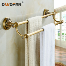 купить Free Shipping Bathroom Accessories Elegance Wall Mounted Double Towel Bar Antique Brass Towel Rack ZLY-8312F недорого