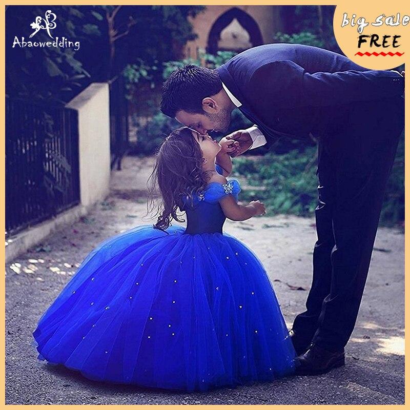 2017 Royal Blue   Flower     Girl     Dresses   for Wedding Cinderella   Girls     Dress   Princess Children Party Ball Gown First Communion   Dress