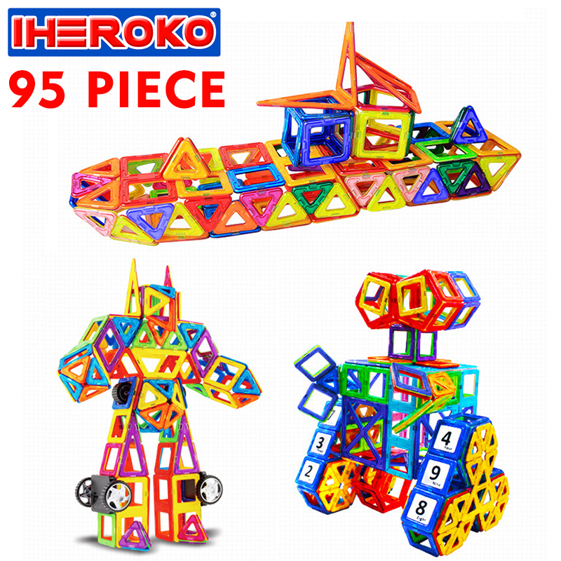 95Pcs  Set Intelligent Magnetic Block 3D Building Models Toy Enlighten Plastic Model Kits Educational Toys For Toddlers Gift