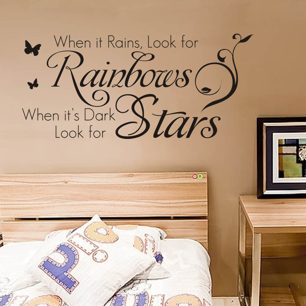 when its rains look for rainbow,when its dark,look for star inspirational quotes wall stickers for living room decor decals art ...