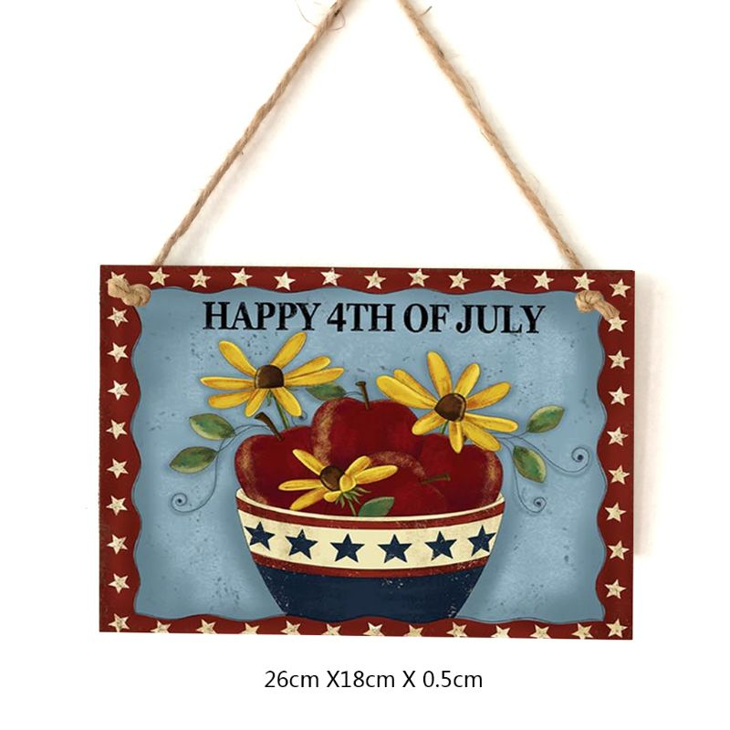 Image 5 - Vintage Wooden Hanging Plaque Happy 4th Of July Flower Sign Board Wall Door Home Decoration Independence Day Party Gift-in Plaques & Signs from Home & Garden