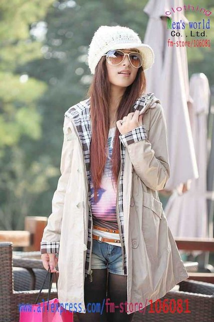 Windbreaker 2011 Woman Hooded Slim Pure color Ladies' Trench Coat WW06