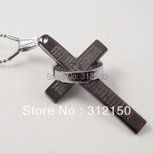 20pcs/lot Wholesale Free Shipping Cross Necklace stainless steel Chain best selling steel Cross Pendant