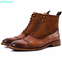 Genuine Leather Men Vintage Boots Winter Men Bullock Retro Chelsea Boots Top Quality Lace-up Oxfords Man Work Boots цена