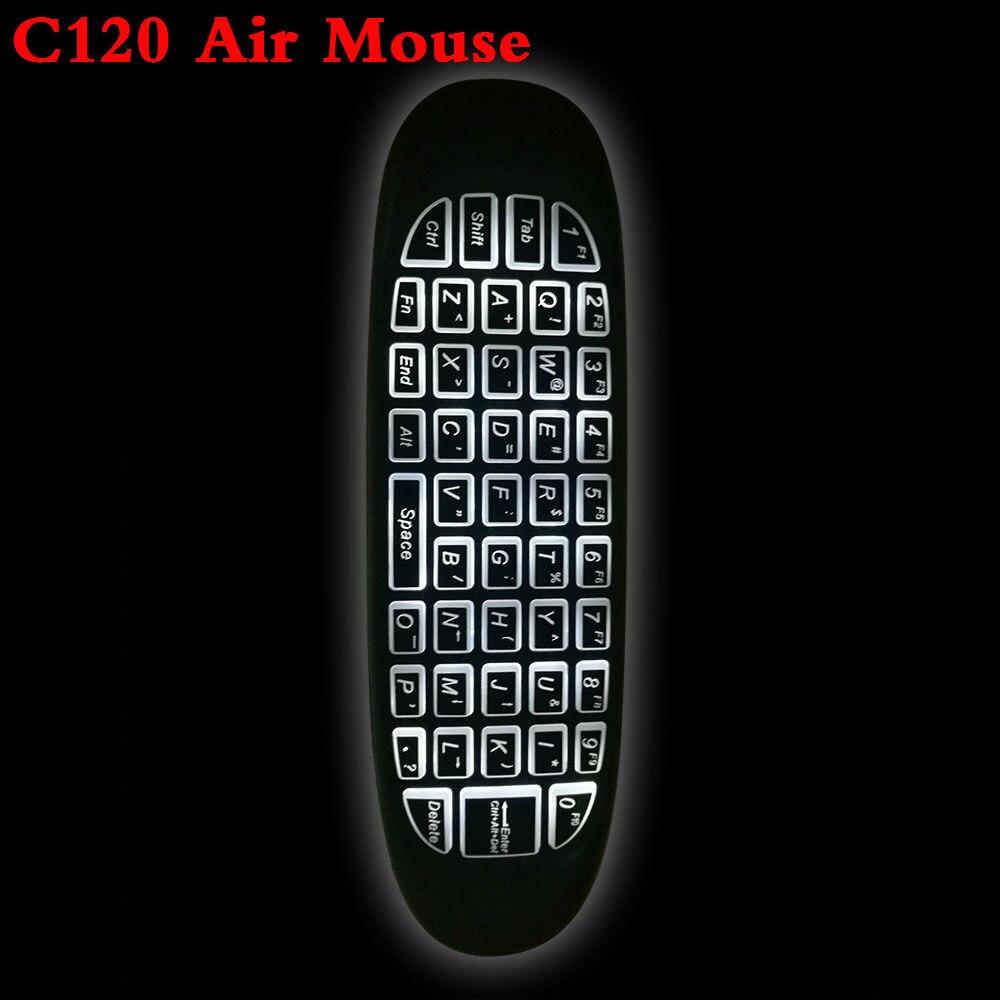 C120 2,4 GHz Wireless Fly Air Mouse Russische Englisch C120 Wiederaufladbare Tastatur gyroskop fernbedienung Für android TV BOX