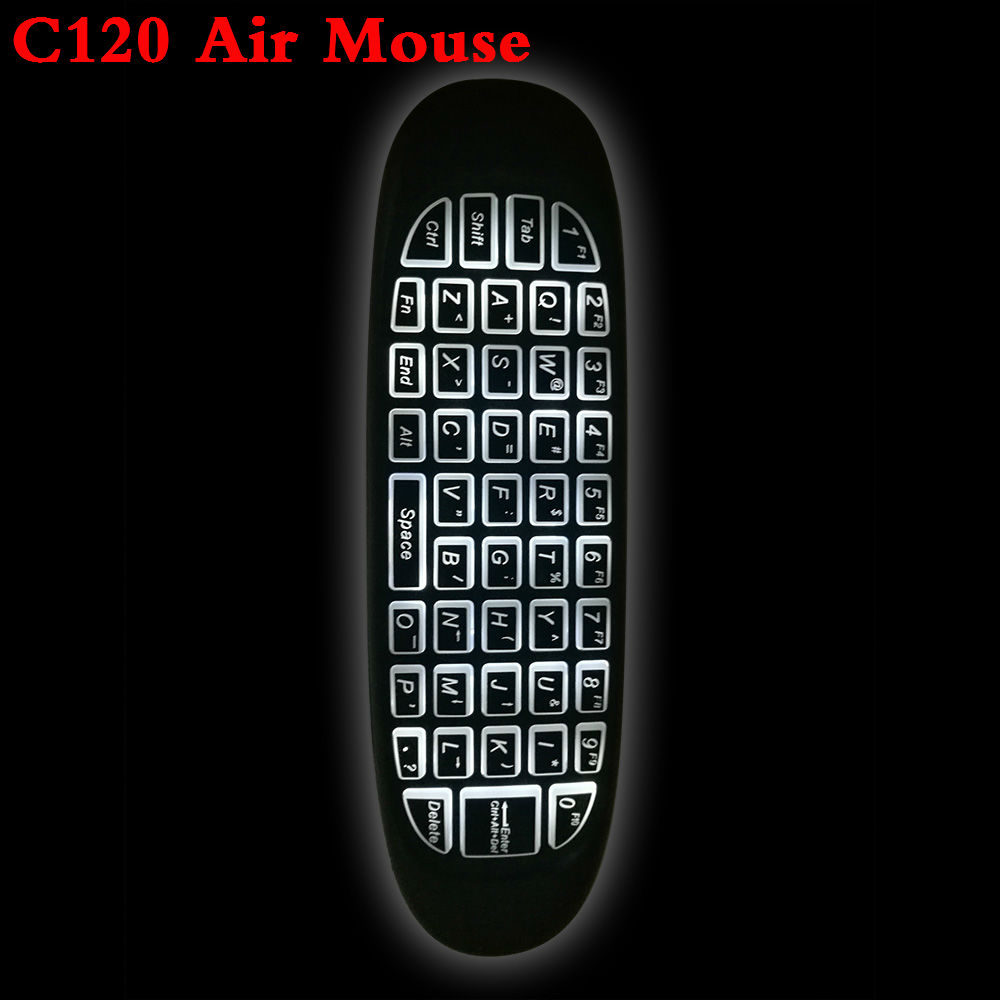 C120 2.4 ghz Wireless Fly Air Mouse Russo Inglese C120 Ricaricabile giroscopio Tastiera remote controller Per android TV BOX
