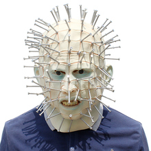 Movie Hellraiser Pinhead Mask Cosplay Scary Latex Full Face Adult Grimace Monster Horror Masks Halloween Masquerade Party Prop