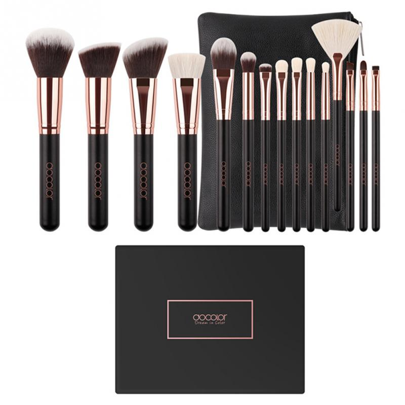 Docolor 15Pcs Professional Makeup Brushes Set Powder Foundation Eyeshadow Make Up Brushes Cosmetics Soft Wool Hair Cosmetic Bag street storm cvr a7810