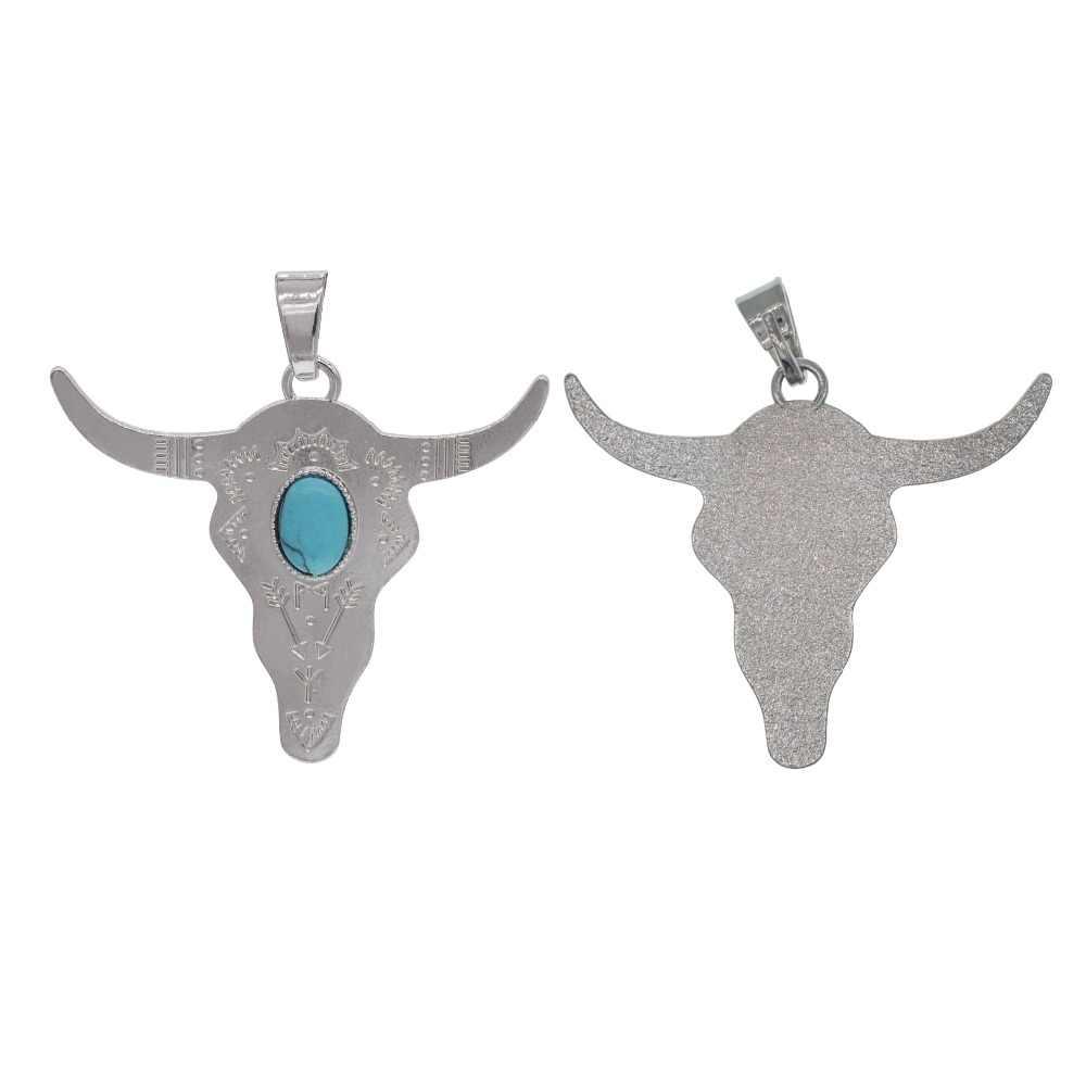 SEVENSTONE moda buffalo głowy koralik srebrny kolor byk bydło urok koralik Longhorn żywicy róg wisiorek dla biżuteria karneol Lol