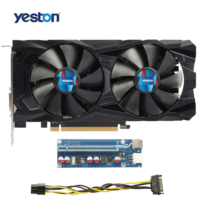 Yeston RX550 4G GDDR5 Graphics Card Double Silent Temperature Control Fans+ 6-pin Extender Riser Card Adapter for mining rx550 2g