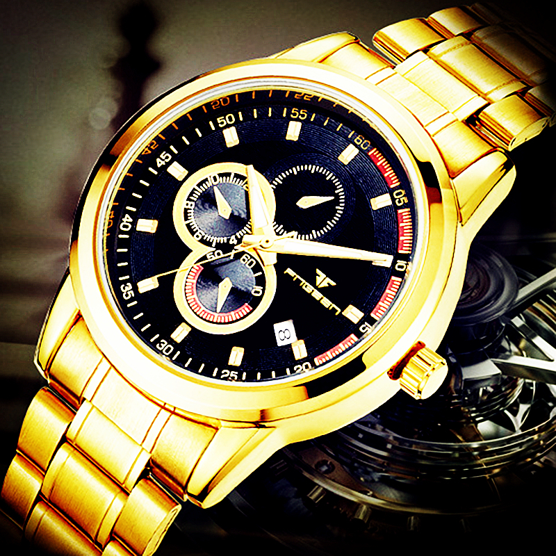 Top Automatic Mechanical Clock Gold Men Watch Luxury Calendar Males Stainless Steel Wrist Watches Brand Fashion Business Hour men luxury automatic mechanical watch fashion calendar waterproof watches men top brand stainless steel wristwatches clock gift