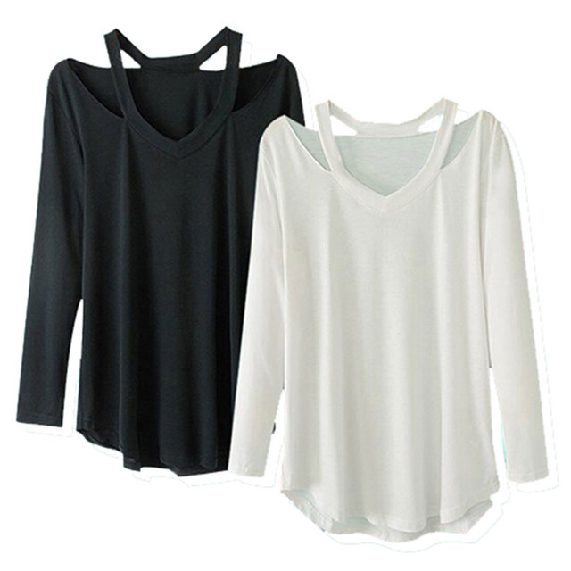 2016 Foonee Women V neck cut out loose shirts casual off shoulder t shirt Plus size basic long sleeve tees cozy tops 3 colors