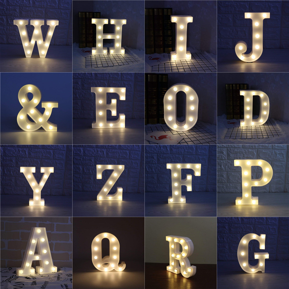 Marquee Sign Alphabet Lamp 26 Letters LED Light For Birthday Wedding Party Christmas New Year Home Hall Holiday Decoration Lamp ropio 3d night light box led table lamp marquee giraffe battery operated for children s room wedding party birthday decoration