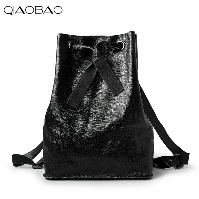 QIAOBAO 100 Natural Cowhide Leather Backpack Fashion Backpack Mochila Feminina Large Girl Schoolbag Travel Bag Lover