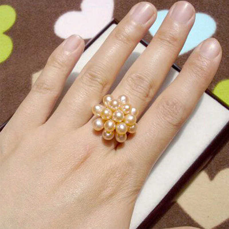 YIKALAISI מותג 2017 חם אופנה אמיתי פרל תכשיטי מים זרוק טבעי מים מתוקים פרל פרח חתונת פרל טבעת לנשים מתנה