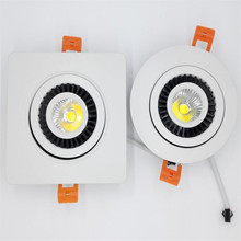 Free Shipping High Qualty Dimmable 15W COB LED downlight square ceiling down lamp white shell led recessed light 85~265V