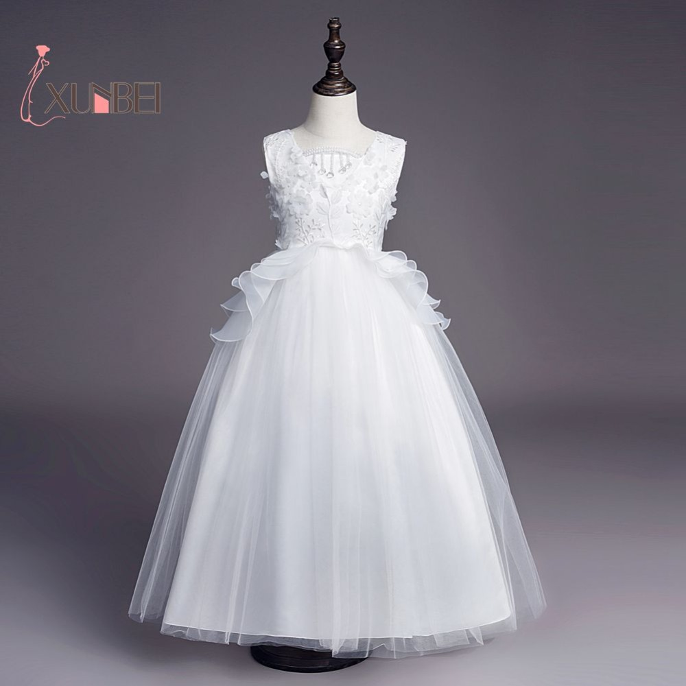 Princess Ruffled Lace   Flower     Girl     Dresses   2019 Soft Tulle Floor Length   Girls   Pageant   Dresses   First Communion   Dresses