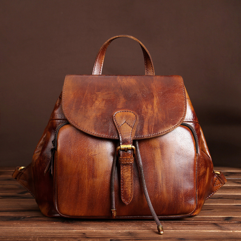 100% en cuir véritable nouveau 2019 femelle sac mat rétro sac à dos pour femme décontracté sac à dos étudiant sauvage grande capacité sacs de voyage